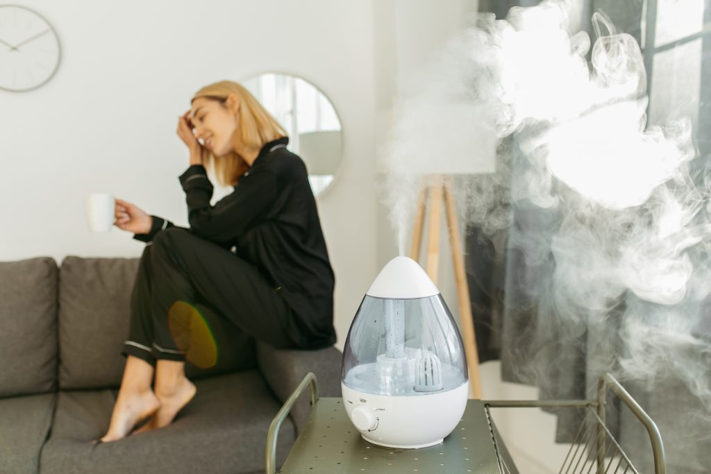 woman with humidifier